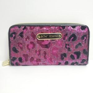 Betsey Johnson Purple Sequin Cheetah Wallet